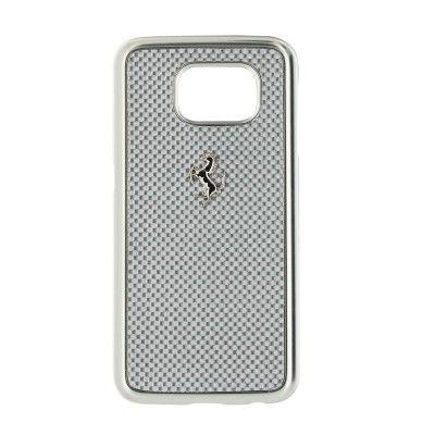 Ferrari Galaxy S6 Cover, silber Carbon-Optik